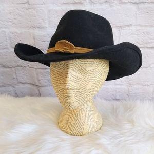 Scala Wool Felted Cowboy Hat Leather Trim